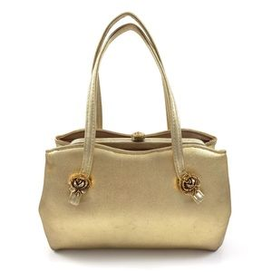 1950's gold leather w/ metal rose ANDE mini purse